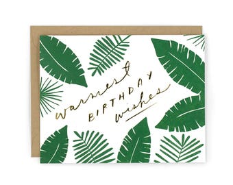 Tropical Birthday Letterpress Card with Gold Foil