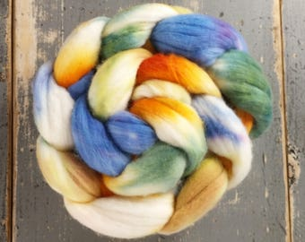 Merino Hand Dyed Roving (Combed Top) Hand Painted 4 oz - Harvest Moon