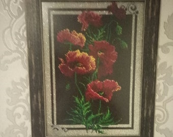 Beadwork. Beads. Embroidery picture.