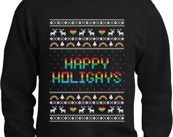 Happy Holigays Ugly Christmas Sweater Men's Crewneck Sweatshirt