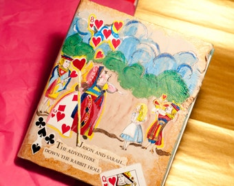 Alice in Wonderland or Queen of Hearts Wedding Guestbook or Scrapbook 8 x 10 inches