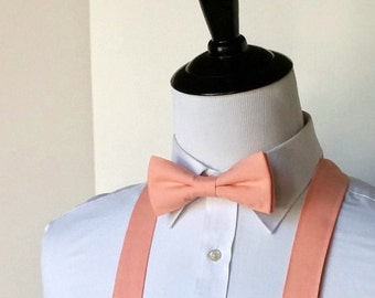 Peach Bowtie and Suspenders Set, Peach Bow Tie, Peach Suspenders, Wedding Bowtie, Wedding Party, Big and Tall Suspenders, Cotton Tie