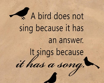 "A bird...Sings Because It Has a Song - Inspirational Vinyl Decal Sticker For Smooth Surface Large 22""w x 20""t  TVART14A"