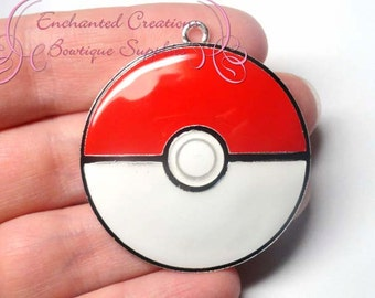 Pokemon Red and White Pokeball Inspired Chunky Pendant, Keychain, Bookmark, Zipper Pull, Chunky Jewelry, Purse Charm