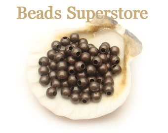 4 mm Antique Copper-Plated Brass Round Bead - Nickel Free and Lead Free - 100 pcs (4MMAC)