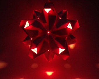 Paper Origami Lamp. White and Orange. 60 sides. (Polyhedra Luminaria Series)