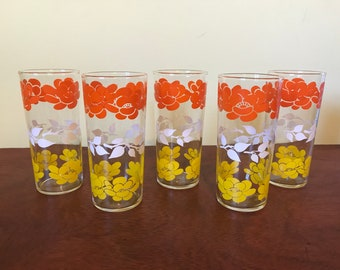 Set of Five Glass Tumblers in Bright Flower Design