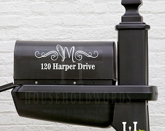 "Mailbox Mongram Vinyl Decal 13"" long X 5"" tall custom new home owner gifts, newly weds present, realtor gifts, street address sign stickers"