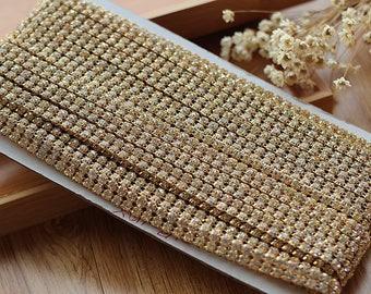 "4 yard 10cm 0.39"" wide ivory gold stones Rhinestones tapes lace trim ribbon H29T364L0812Y free ship"