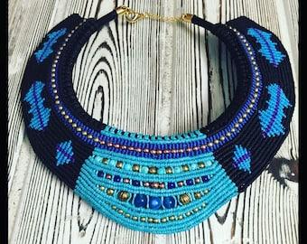 macrame necklace, cavandoli necklace, tribal collar necklace, blue necklace amazing necklace beautiful necklace micro macrame bib necklace