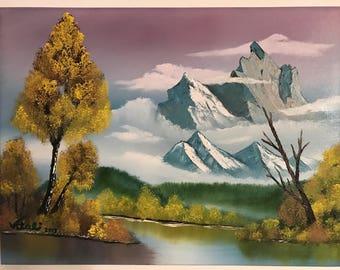 "18x24 Oil Painting ""Autumn Mountain"" Bob Ross Replica"