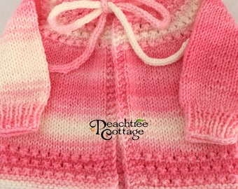 Knit Baby Sweater - Hand Knit Sweater - 3-6 Months - Strawberries & Cream - Ready to Ship