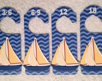 Baby closet dividers.  Nursery closet dividers.  Nautical baby closet dividers.  Boats closet dividers.