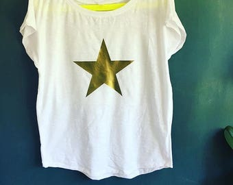 Scoop neck t shirt with Star print