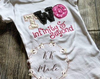 Two infinity and beyond shirt, to infinity and beyond shirt, girls two infinity and beyond shirt, birthday shirt, girls second birthday