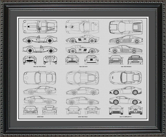 Ferrari blueprint collection drawing art car auto gift malvernweather Images