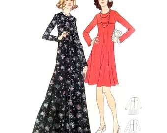 70s Butterick 3299 Semi-FItted Dress with Round Neckline, High-Fitted Bodice and Flared Skirt in Two Lengths Sewing Pattern Size 12