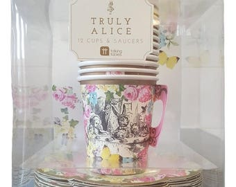 Truly Alice paper teacups with saucers x 12
