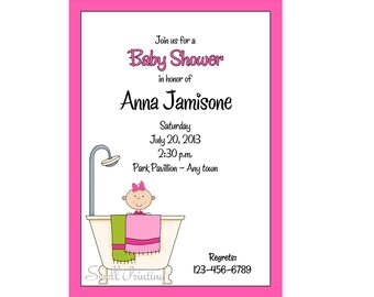 Baby Shower Invitation Baby in the Shower Invitation Digital Baby Shower Invitation Girl Baby Shower Invitation