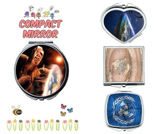 Flat earth compact mirror, makeup mirror, cosmetic mirror, portable mirror, double sided compact makeup mirror, purse mirror