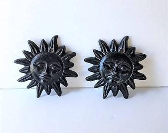 Two Black Ironl Sun Wall Hangings / Sun Faces