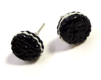 Tiny Oreo Cookie Earrings - Posts - Cookie Earrings - Cream Filled
