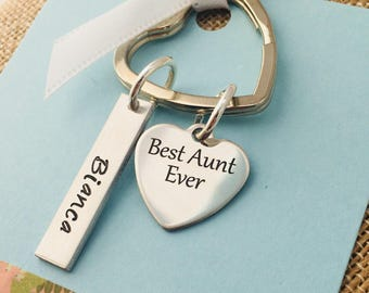 Aunt Keychain, Personalized Aunt Keychain, Best Aunt Ever Keychain, Personalized Aunt Gift, Custom Aunt Keychain, Aunt Jewelry