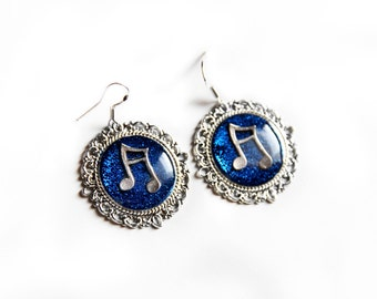 Blue earrings Music note earrings Music gift for musicians Gift for singer Jewelry music earrings Notes music Blue gift Music jewelry Blue