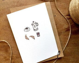 French Coffee and Breakfast Blank Card