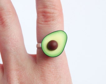 Funny green avocado ring adjustable miniature food statement ring healthy food avocado lover gift present