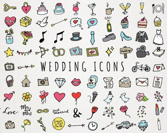 Wedding Icons Clipart - Hand drawn clipart, wedding clip art, doodle icons, diy weddings, wedding illustrations, invitation design element