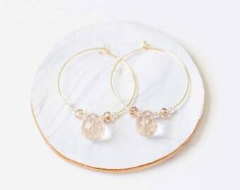 Gold Hoop Earrings - Crystal Hoop Earrings - Classic Gold Jewelry - Dainty Jewelry - Delicate Jewelry
