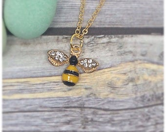 Gold Bee Necklace, Gold, Honeybee, Honey Bee Necklace, Gold Bee Charm, Gold Bee Pendant, Bumblebee Necklace, Nature, Ella Rose, Yellow,
