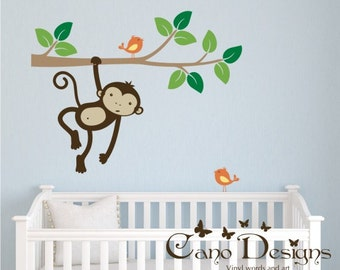 Monkey Swinging on a  Branch with birds,  Kids Vinyl Wall Decal Sticker Set, nursery, removable wall decal set