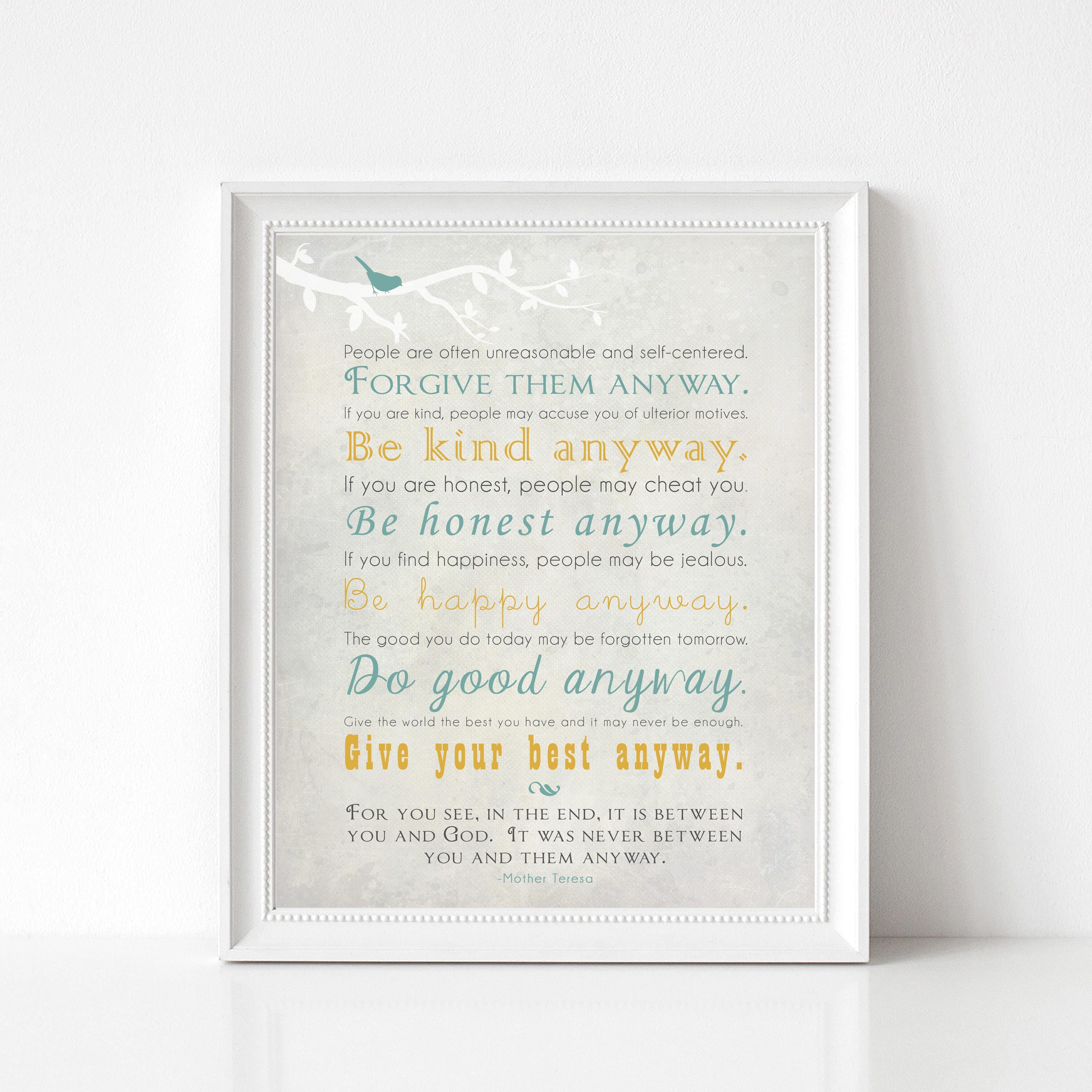 Mother Teresa Quotes People Are Often: Mother Teresa Quote Wall Art Print Forgive Them Anyway