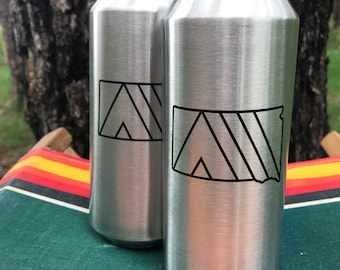 Camp SoDak Beer Pint Cup Set of Two - South Dakota Tall Boy 16oz Stainless Steel Pints by Oh Geez! Design - SoDak Reusable Miir Camp Pints