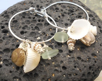 Sea Shell Hoop Earrings, Mermaids Treasure, Beach Jewelry, Sea Shell Earrings, Beach Wedding, Silver Hoop Earrings