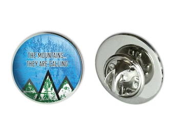 """The mountains they are calling hiking nature metal 0.75"""" lapel hat pin tie tack pinback"""