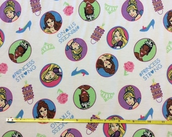 "NEW Disney Princess Strong on cotton lycra knit fabric 96/4 58"" wide."