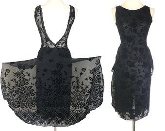 Black velvet tango dress. Wedding guest dress. Two piece lace midi dress with pencil skirt. Backless ballroom dance dress. Milonga outfit