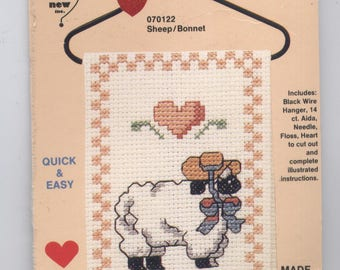 Sheep in a Straw Bonnet Ornament Counted Cross-Stitch Kit with Wire Hanger