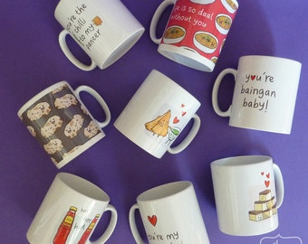 Funny Indian Food Pun Mugs