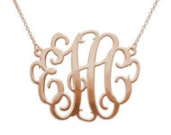 18K Rose Gold Plated monogrammed necklace