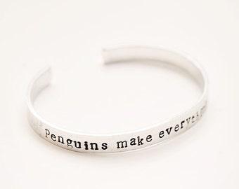 Penguin Cuff bracelet, Stamped bracelet, Stamped cuff