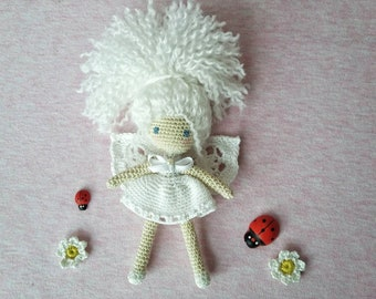 Kawaii Doll Amigurumi | White Fairy | Crocheted Doll Collectibles | Bedroom Decor | Gift for Girls | Lucky charm
