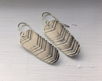 Handmade feathered chevron drop earrings - shiny silver