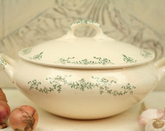 Rare antique Longchamp RC soup tureen 1900 - Ironstone soup tureen - Robert Charbonnier - French Ironstone - Vintage soup tureen