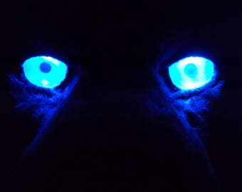 "Custom 1.25"" / 1.5"" LED Fursuit Eyes, AA Battery Resin, One pair of follow-me 3D acrylic eyes for jewelry, costumes, Furry costumes"