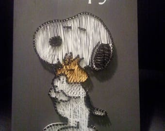 Snoopy and Woodstock String Art