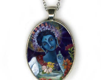Buddhist necklace - Blue Tara Goddess - Goddess Jewelry - Goddess Art - girlfriend gift necklace - gifts for her - Buddhist necklace